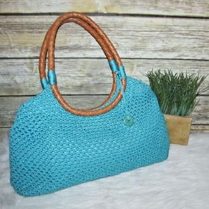 The Sak Blue Knitted Crochet Hobo Tote Bag
